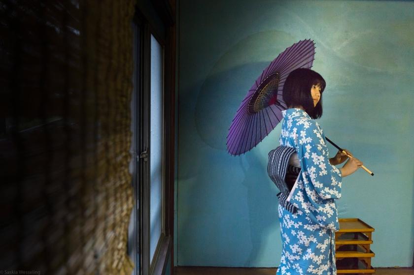 Un hangyoku (metà gioiello) o apprendista geisha di Fukagawa
